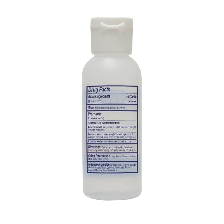 Hand Sanitizer 2oz Back of Pack
