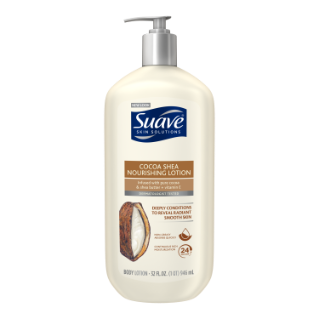 [Cocoa Shea Nourishing Body Lotion 32oz, Woman holding Suave® body lotion product in hand]