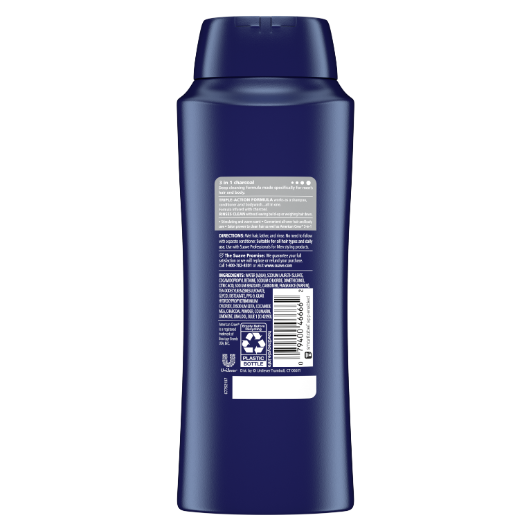 3-in-1 Shampoo + Conditioner + Charcoal Body Wash BOP 28oz
