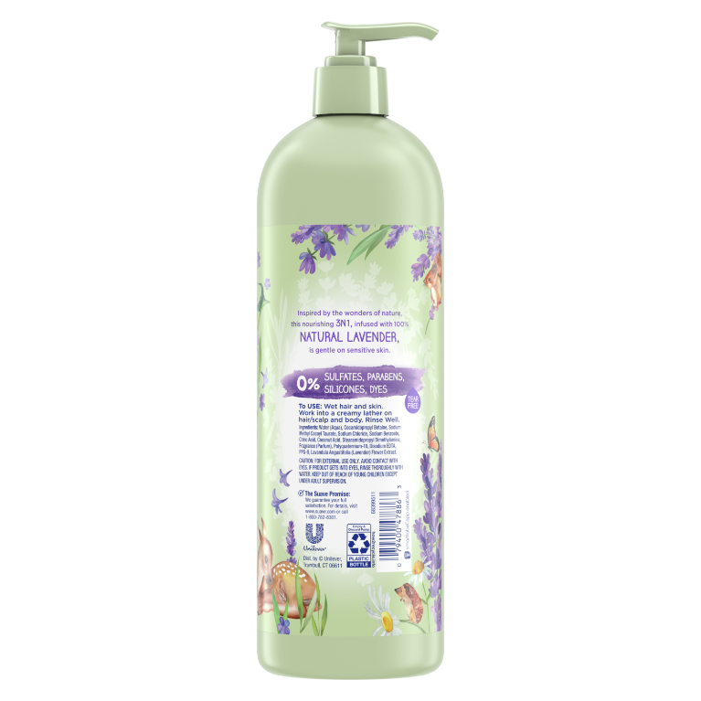 Suave Kids 3-in-1 Shampoo Conditioner and Body Wash with 100% Natural Lavender Back of Pack