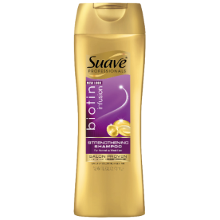 [Biotin Infusion Shampoo 12.6oz, Woman holding Suave® shampoo product in hand]