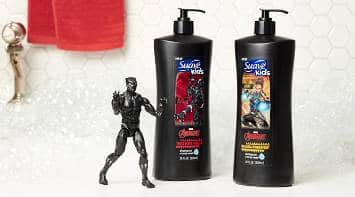 Bottle of Suave® Black Panther Body Wash and Shampoo on the edge of a bathtub next to a Black Panther toy figure