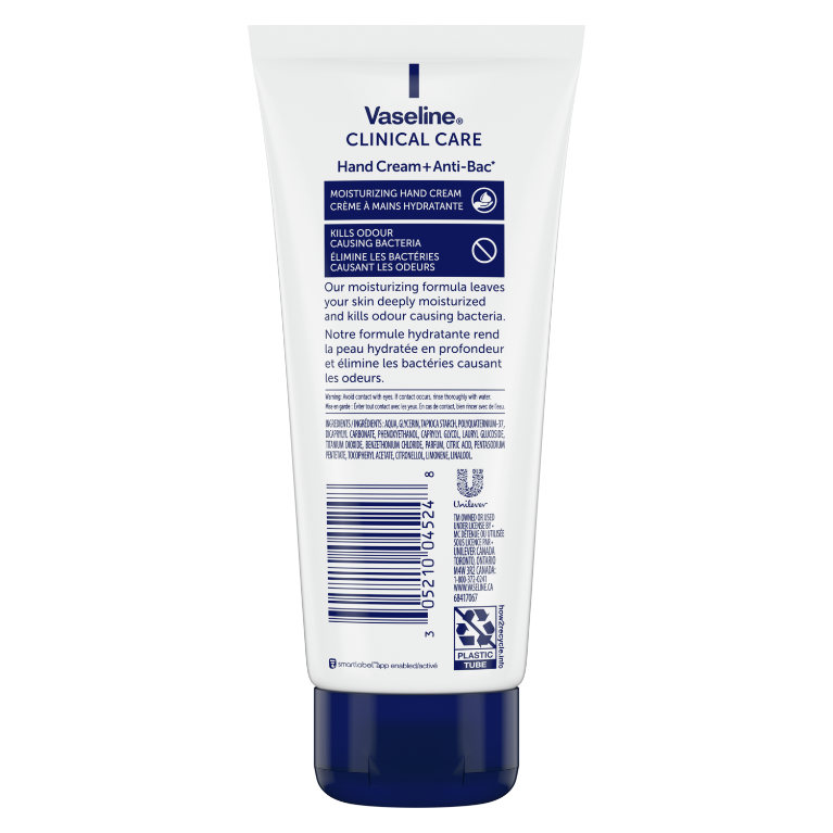 Vaseline Clinical Care™ Hand Cream + Anti-Bac Back of Pack